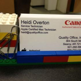Lego Business Card Holder with Magnetized Paperclip Holder